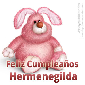 happy birthday Hermenegilda rabbit card