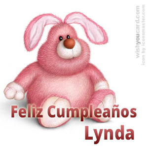 happy birthday Lynda rabbit card