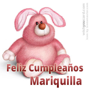 happy birthday Mariquilla rabbit card