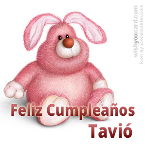 happy birthday Tavió rabbit card