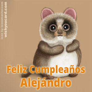 happy birthday Alejándro racoon card