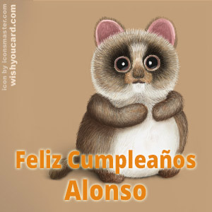 happy birthday Alonso racoon card