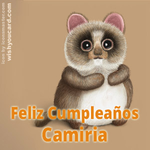 happy birthday Camiria racoon card