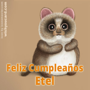 happy birthday Etel racoon card