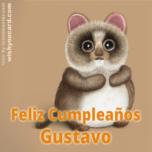 happy birthday Gustavo racoon card