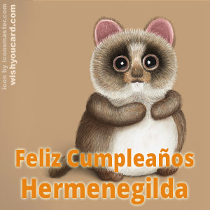 happy birthday Hermenegilda racoon card