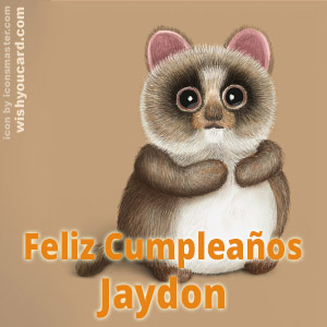 happy birthday Jaydon racoon card