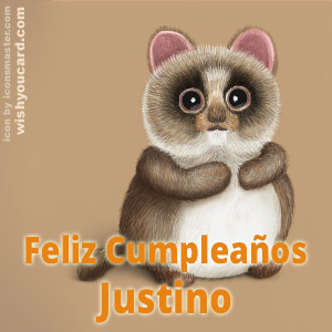 happy birthday Justino racoon card