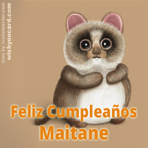 happy birthday Maitane racoon card