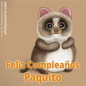 happy birthday Paquito racoon card