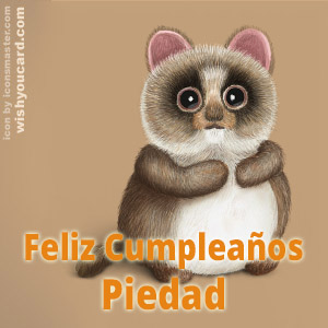 happy birthday Piedad racoon card