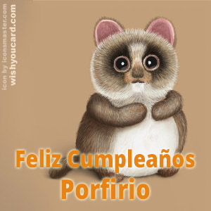 happy birthday Porfirio racoon card