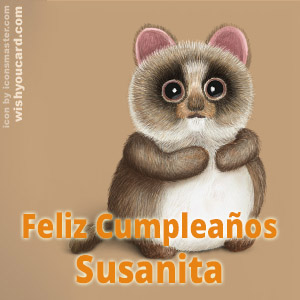 happy birthday Susanita racoon card