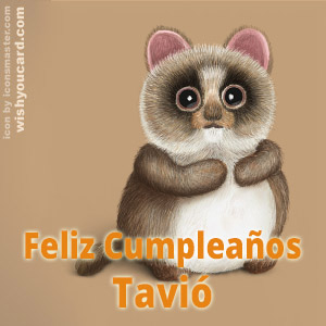 happy birthday Tavió racoon card