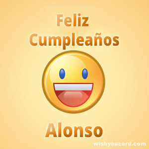 happy birthday Alonso smile card