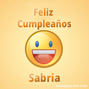 happy birthday Sabria smile card