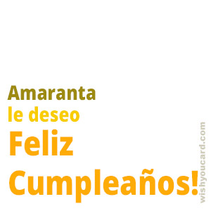 happy birthday Amaranta simple card