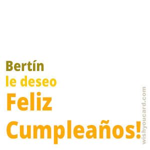 happy birthday Bertín simple card