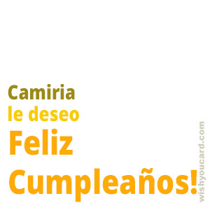 happy birthday Camiria simple card