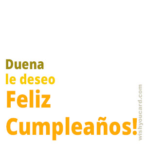 happy birthday Duena simple card