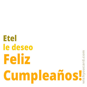 happy birthday Etel simple card