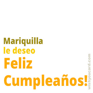 happy birthday Mariquilla simple card