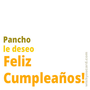 happy birthday Pancho simple card